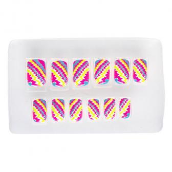 """UV Leucht-Künstliche Fingernägel """"Neon Streifen"""" 12-tlg."""