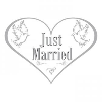 "Wanddeko-Herz ""Just Married"" 48 cm"