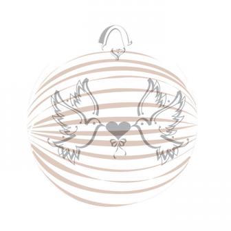 Weißer Lampion mit Turteltauben 22 cm