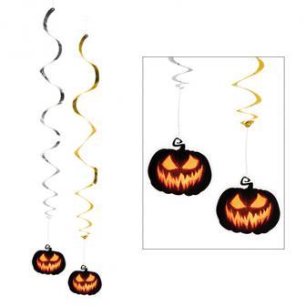 """Wirbel-Deckenhänger """"Creepy Pumpkin"""" 2er Pack"""