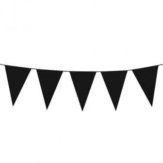XXL Wimpel-Girlande einfarbig 10 m-schwarz