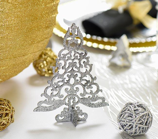 Aufsteller funkelnder weihnachtsbaum 15 cm silber g nstig kaufen bei - Weihnachtsbaum rot silber ...