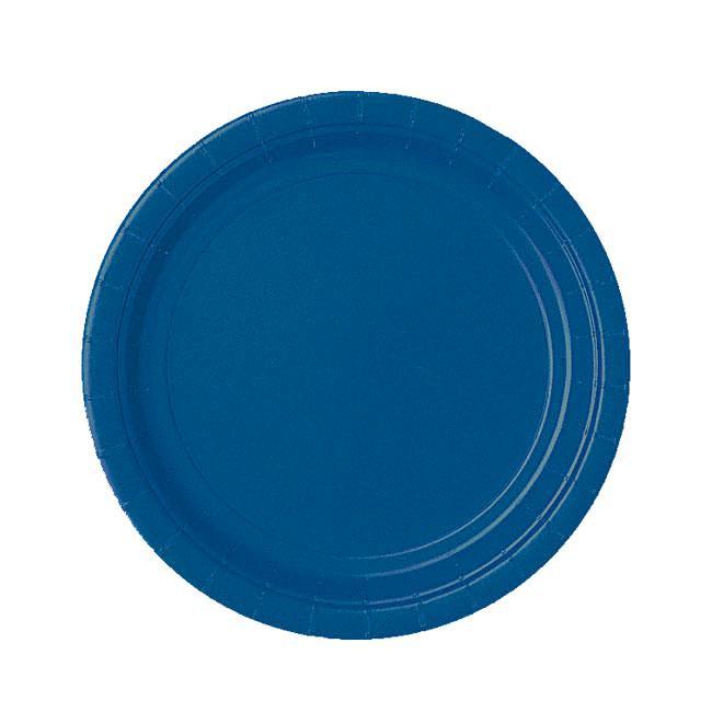 Einfarbige pappteller 23 cm 8er pack blau g nstig kaufen for Pappteller blau