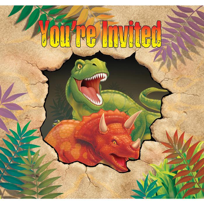 """einladungskarten """"gefährliche dinosaurier"""" mit umschlag"""