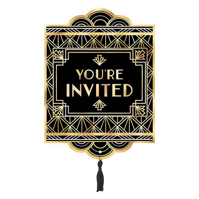 Einladungskarten Golden Hollywood Mit Umschlag 8er Pack