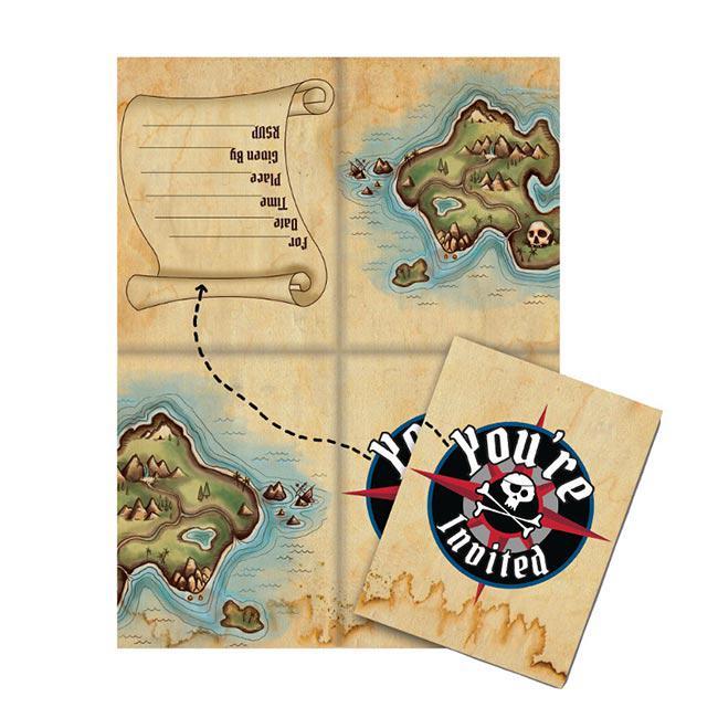 """einladungskarten """"piraten-schatzkarte"""" mit umschlag 8er"""