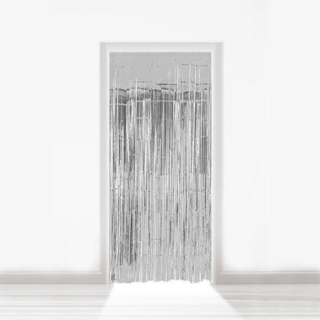 fransen t rvorhang aus folie 2 m silber g nstig kaufen bei. Black Bedroom Furniture Sets. Home Design Ideas