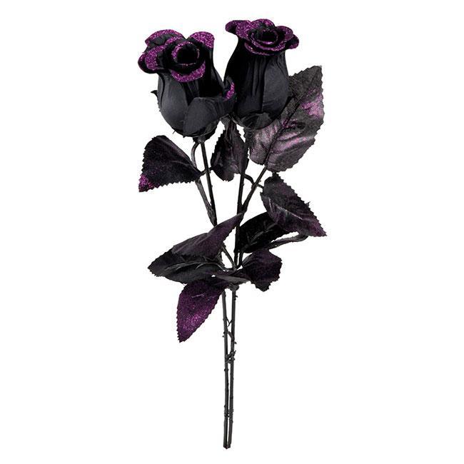 k nstliche blume schwarze rose 43 cm g nstig kaufen bei. Black Bedroom Furniture Sets. Home Design Ideas