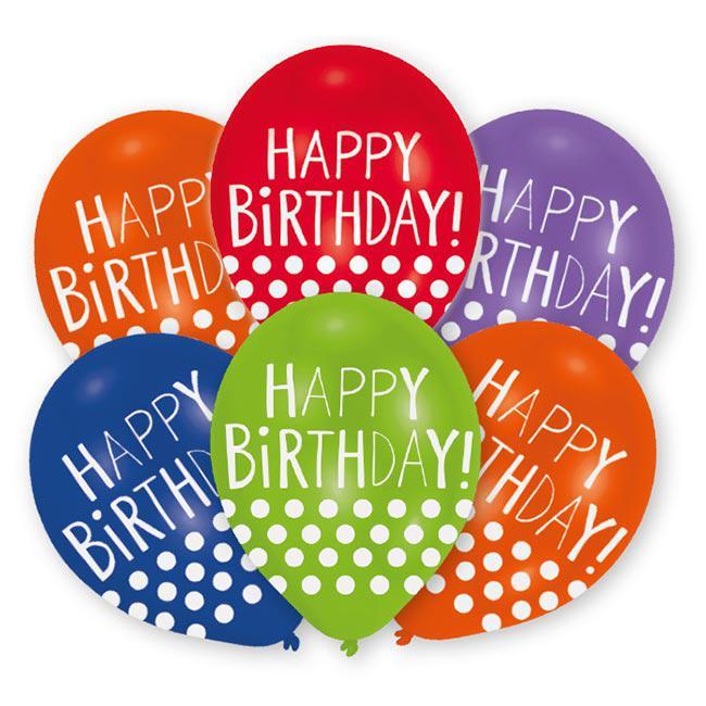 Metallische Happy Birthday Luftballons Lustige Punkte 6er Pack