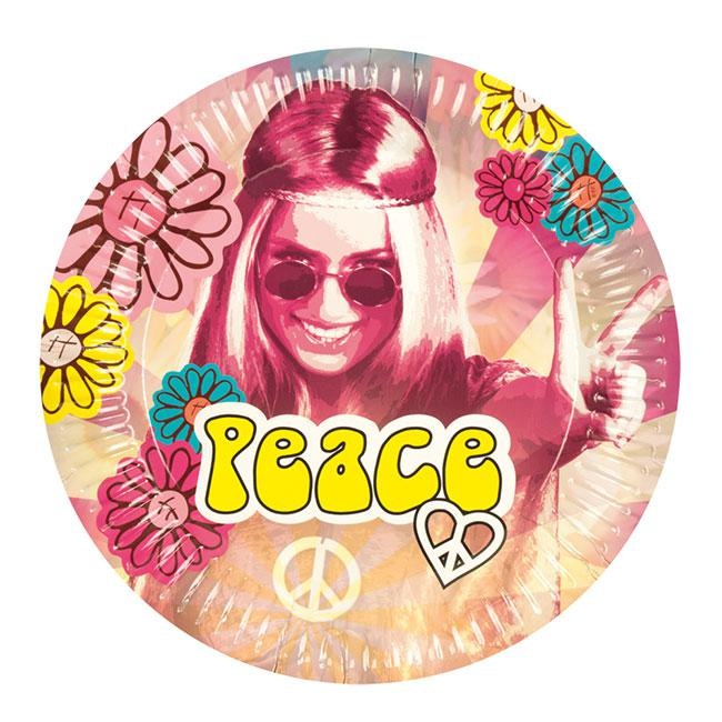 Pappteller bunte hippie power 6er pack g nstig kaufen for Bunte pappteller