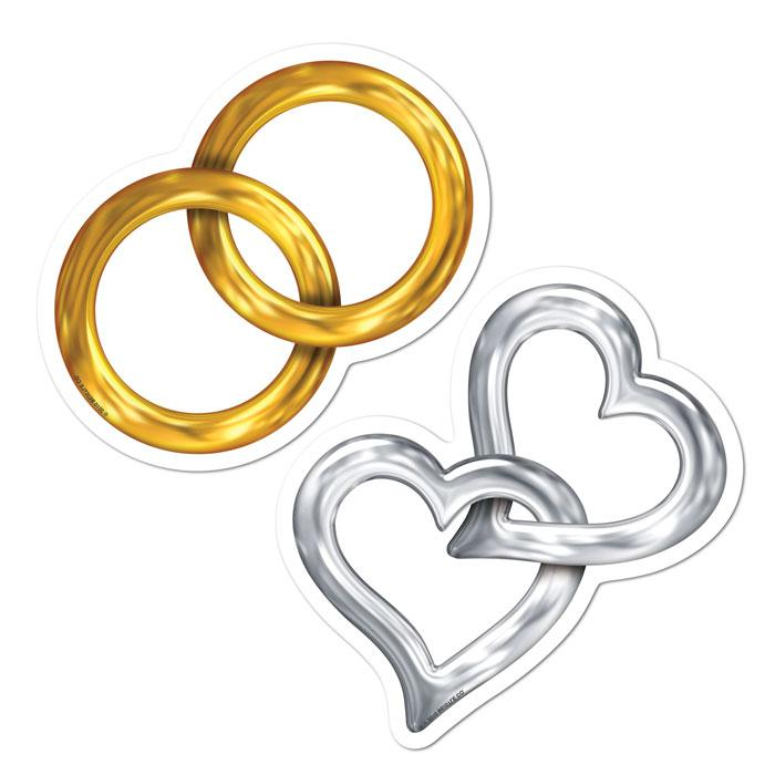 Wanddeko Hochzeit Ringe Und Herzen 10 Tlg Gunstig Kaufen Bei