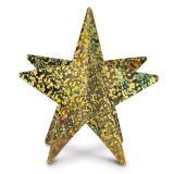 Glänzender 3D-Stern aus Pappe 30 cm -gold