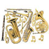 Wanddeko Musikinstrumente gold 60 cm 15-tlg.