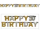 """Buchstaben-Girlande """"Glamouröse 50"""" Happy Birthday 2,1 m"""