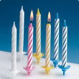 Bunte Geburtstagskerzen mit Halter 36-tlg.