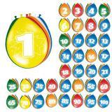 Bunte Luftballons mit Zahlen 8er Pack-50
