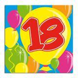 """Cocktailservietten """"Happy Birthday Bunte Ballons"""" 18. Geburtstag 20er Pack"""