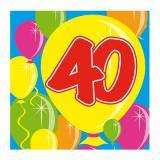"""Cocktail-Servietten """"Happy Birthday Bunte Ballons"""" 40. Geburtstag 20er Pack"""