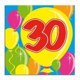 """Cocktailservietten """"Happy Birthday Bunte Ballons"""" 30. Geburtstag 20er Pack"""