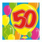 """Cocktailservietten """"Happy Birthday Bunte Ballons"""" 50. Geburtstag 20er Pack"""