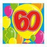 """Cocktailservietten """"Happy Birthday Bunte Ballons"""" 60. Geburtstag 20er Pack"""