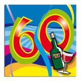 """Cocktailservietten 60. Geburtstag """"Partyspaß"""" 20er Pack"""