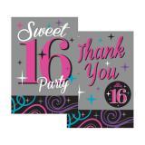 """Dankes- und Einladungskarten """"Sweet 16 Party"""" 40-tlg."""