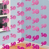 Deckenhänger 50. Geburtstag pink 2,13 m 6er Pack