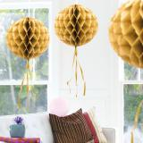 """Deckenhänger """"Ball aus Wabenpapier"""" 30 cm-gold"""