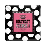 "Eckige Pappteller ""Birthday Girl"" 8er Pack"