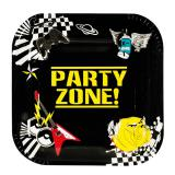"Eckige Pappteller ""Party-Zone"" 6er Pack"