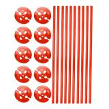 Einfarbige Luftballonstäbe mit Halterung 10er pack-rot