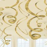 Einfarbige Wirbel-Deckenhänger 55 cm 12er Pack-gold
