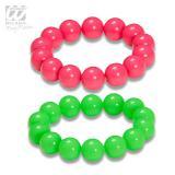 Einfarbige Neon-Perlenarmbänder 2er Pack