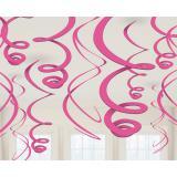 Einfarbige Wirbel-Deckenhänger 55 cm 12er Pack-pink