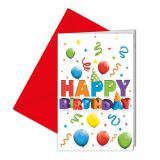 """Einladungskarten """"Bunter Geburtstag"""" mit Umschlägen 6er Pack"""