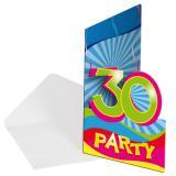 """Einladungskarten 30. Geburtstag """"Partyspaß"""" 8er Pack"""