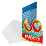 """Einladungskarten 60. Geburtstag """"Partyspaß"""" 8er Pack"""
