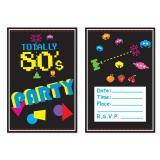 """Einladungskarten """"80er Jahre Style"""" mit Umschlag 8er Pack"""