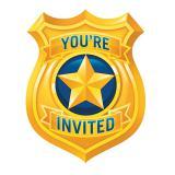"""Einladungskarten """"Coole Polizei"""" mit Umschlägen 8er Pack"""
