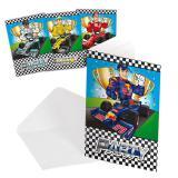 """Einladungskarten """"Schnelle Rennwagen"""" inkl. Umschlägen 8er Pack"""