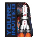 """Einladungskarten """"Space Shuttle und Planeten"""" 8er Pack"""