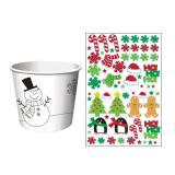 """Eisbecher """"Kunterbunte Weihnachtswelt"""" mit Stickern 6er Pack"""