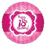 "Folien-Ballon Happy Birthday ""Pretty Pink 18"" 45 cm"