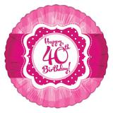 "Folien-Ballon Happy Birthday ""Pretty Pink 40"" 45 cm"