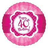 "Folien-Ballon Happy Birthday ""Pretty Pink 40"" 45 cm"