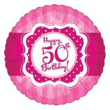 "Folien-Ballon Happy Birthday ""Pretty Pink 50"" 45 cm"
