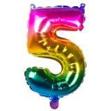 Folien-Ballon in Zahlenform Regenbogen 36 cm-5