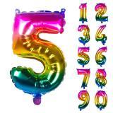 Folien-Ballon in Zahlenform Regenbogen 36 cm - Hauptansicht