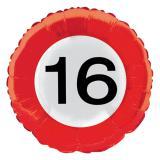 """Folien-Ballon Verkehrsschild """"16. Geburtstag"""" 45 cm"""